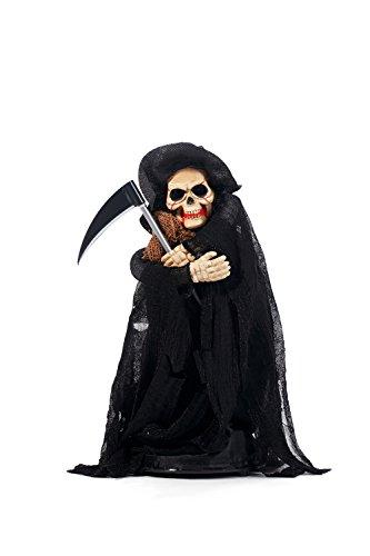 Animated Grim Reaper Death Skeleton Scythe Figurine Halloween Party Decorations (Black, Brown) (Easy And Inexpensive Halloween Decorations)