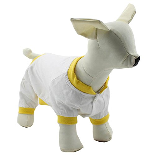 Pet Clothing Dog Clothes Pajamas T-shirts Tee Shirt For Small Size Dogs 100% Cotton Puppy Dog Four Legs Jumpsuits Teddy Jump Suit for Chihuahua Dogs DBR-006 (XL, White) 4 Dog T-shirt