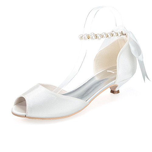 Sarahbridal Women's Low Heels Bridal Sandals Prom Dancing Shoe Peep Toe Satin Wedding Evening Party Court Shoes SZXF0700-11 Ivory 5z33YSKI3Q