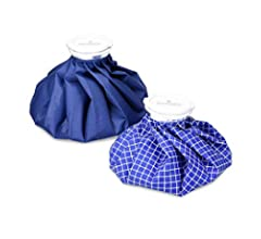 Navaris Set de 3 bolsas para frío y calor - Kit de 3 bolsas de hielo en diferentes tamaños - Para aliviar lesiones dolor e inflamación en azul