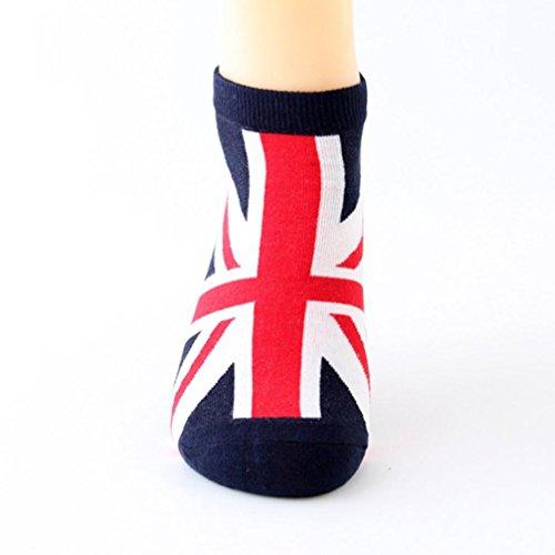 Women Cute Cotton Fashion Sock Comfortable Socks Flag Printing Elastic Socks (Red)