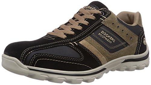 Dockers by Gerli 36DG002-204142 - zapatilla deportiva de cuero hombre negro - Schwarz (schwarz/stone 142)
