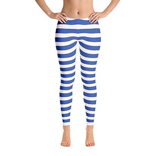 靄正気レンチWomen Legging Stripe Blue PANTS レディース