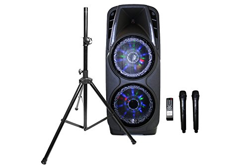 EMB PKL5000 + Speaker 7 Hours Rechargeable Speaker System Built-in Bluetooth/SD/MMC/USB2x Wireless Microphone by EMB