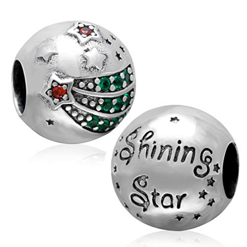 - CHAWIN 925 Sterling Silver, Christmas Star Charm Pendant, Decorated with Red and Green Crystal, fit Pandora Bracelet Becoration, is The for Family and Friends