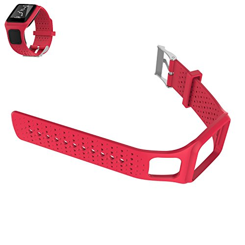 Weinisite Silicone Adjustable Replacement Strap Bracelet for TomTom Runner 1/TomTom Multi-Sport Cardio/TomTom Multi-Sport GPS Watch/TomTom Multi-Sport + HRM (Red) by Weinisite