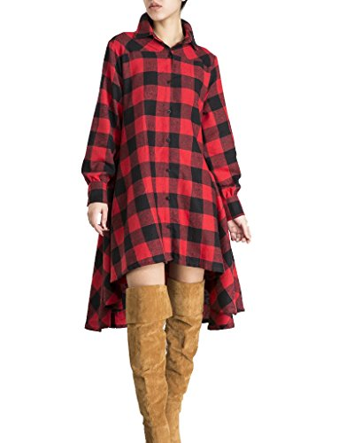 (OLRAIN Womens New Plaids Irregular Hem Casual Shirt Dress Large Red)