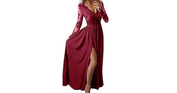 Amazon.com: Vestido Maxi para mujer, cuello en V, de encaje ...