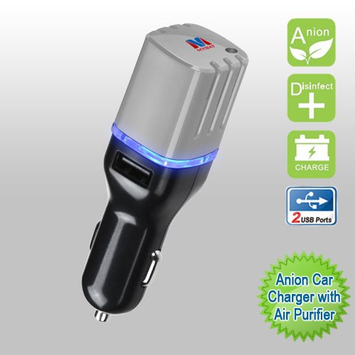 Cell Accessories For Less (TM) Car Charger Anion with Air Purifier Dual USB Output 3.1A - Black/Gray for Samsung Trender M380 Bundle (Stylus & Micro Cleaning Cloth) - By TheTargetBuys
