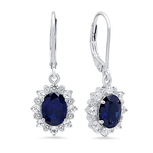 (Sterling Silver Halo Sunburst Oval Created Blue Sapphire Leverback Earrings (8x6mm))