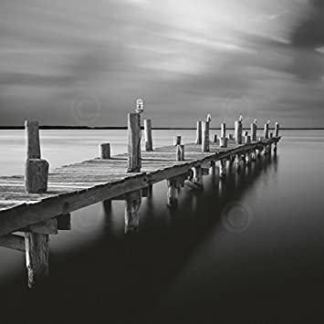 The Red Silo Original Wall Art Black /& White Dock On Canvas