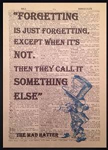Parksmoonprints Mad Hatter Alice in Wonderland Forgetting Quote Print Vintage Dictionary Page Picture Art