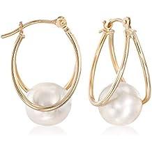 Ross-Simons 8-9mm Cultured Pearl Double Hoop Earrings