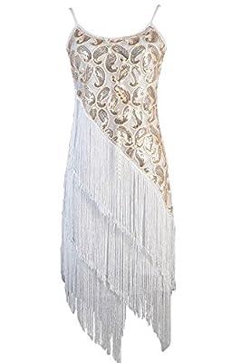 Vijiv Women's 1920S Sequin Tassle Fringe Latin Dance Dress