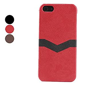 Microgroove Pattern Leather Coated Hard Case for iPhone 5/5S (Assorted Colors) --- COLOR:Red