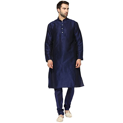 KISAH Men's Navy Dupion Silk Solid Kurta Churidar Set