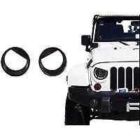 FMtoppeak 2 Pcs Black Birds Style Bezels Front Light Headlight for 2007-2016 Jeep Wrangler JK