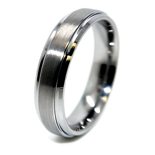 Unisex 6mm Tungsten Carbide Raised Satin Center Wedding Band Size 15.5 (15 1/2) by Blue Chip Unlimited (Image #1)