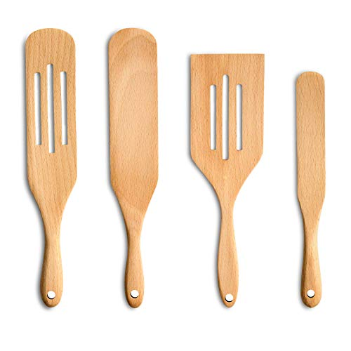 Moliy Spurtle Cooking Utensils, Wooden Spurtle Set Wood Kitchen Utensils Spurtles Kitchen Tools Spatula Slotted Spoon for Cooking Salad Stir, Cake Make and Pan-Fried Steak (4 Pcs)