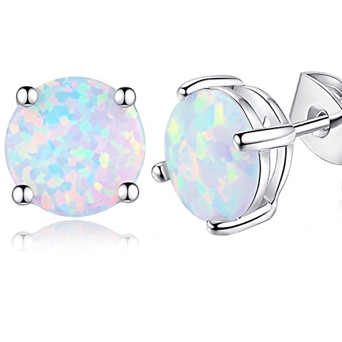 DESIMTION 18K White Gold Plated Created 6 mm White Opal Round Stud Earrings for Women Girls ()