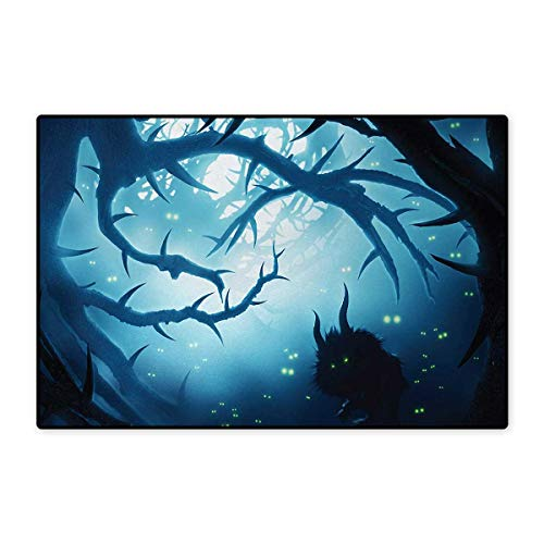 Mystic,Bath Mat,Animal with Burning Eyes in The Dark Forest at Night Horror Halloween Illustration,Door Mat Increase,Navy White 16