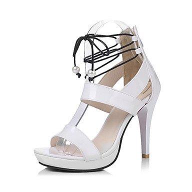 ligaosheng Mujer-Tacón Stiletto-Confort Innovador-Sandalias-Boda Oficina y Trabajo Vestido Informal Fiesta y Noche-Semicuero Cuero Patentado white