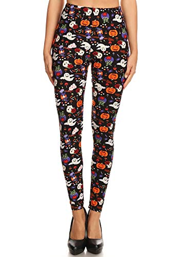 iZZYZX Women's Regular Halloween Pumpkin Ghost Pattern Printed Leggings -