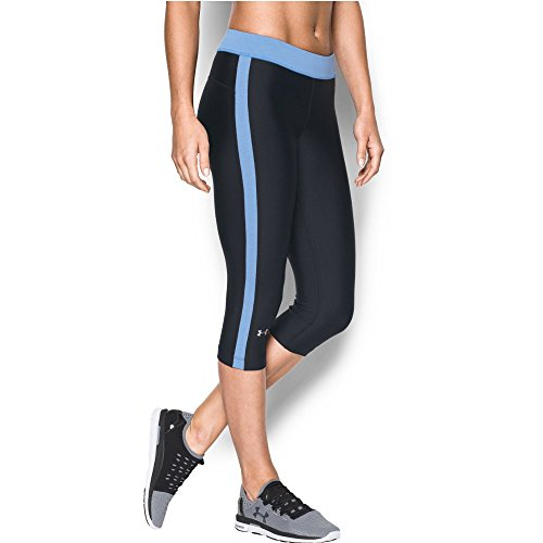 "Under Armour Women's HeatGear Armour 18"" Sport Capri, Black/Water, X-Large"