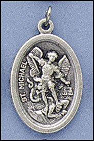 100 Piece Pack, Patron Saints Medals, St. Michael with Guardian Angel,