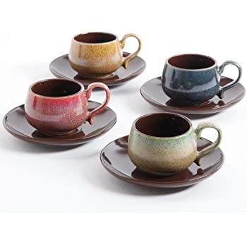 Mr Coffee Natural Array 8 PC 3oz Espresso Cup & Saucer Set