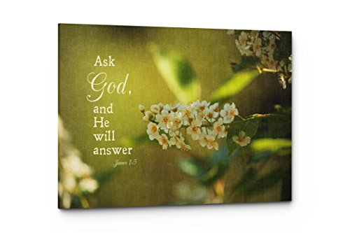 Psalms Ask God Canvas Wall Art Quote, Christian Religious Wall Decor (Ask God, 17''W x 11''H) by Emin Decor
