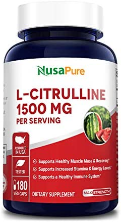 L-Citrulline 1500 mg 180 Vegetarian Caps Non-GMO Gluten Free Promotes Healthy Circulation and Cardiovascular Health – Supports Well-Being – Enhances Endurance