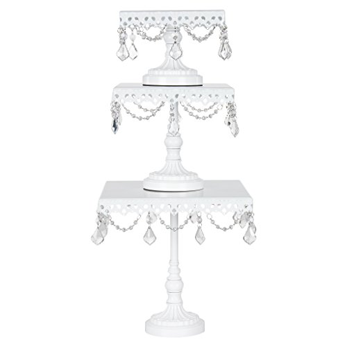 Square Cake Stand Set of 3, Round Metal Plate Dessert Cupcake Pedestal Wedding Party Display with Crystals (White) Round Set Pedestal