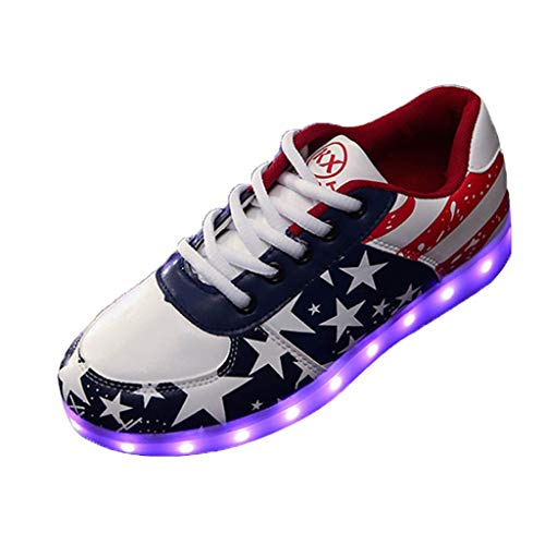 Answerl Adults Fashion Sneakers Low Top Lace Up Casual Women's Play Fashion Sneaker Wild Shoes LED Light Shoes
