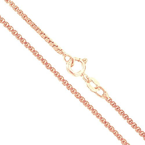 22k Rose Gold Plated Sterling Silver Box Chain 1.5mm Genuine Solid 925 Italy Classic New Necklace 22