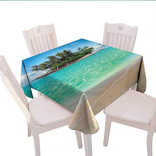 Island Burlap Tablecloth Tropical Island Sandy Seaside Clear