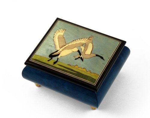 Handcrafted Birds Theme Italian Music Box with Wild Geese in Flight - In the Good Old Summertime by MusicBoxAttic