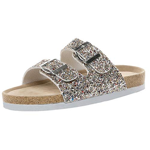 Women Fashion Casual Footbed Double Buckle Sequined Sparkle Glitter Sandals Flats Shoes by Lowprofile Gold