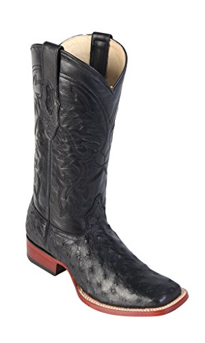 Men's Wide Square Toe Black Genuine Leather Ostrich Skin Western Boots