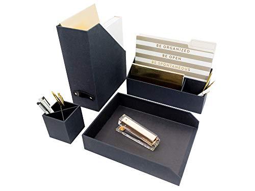 Blu Monaco Dark Gray Executive Desk Organizers and Accessories - 4 Piece Desktop Cubicle Decor Desk Organizer Set - Mail Office Supplies Organizer, Paper - Document Tray, Pen Cup, Magazine (Gray Desk Accessories)
