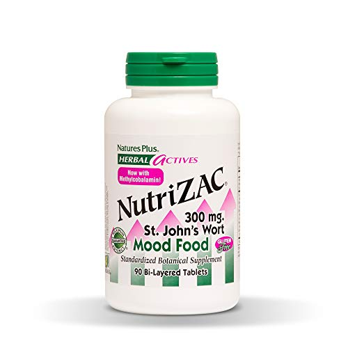Natures Plus Herbal Actives Nutrizac Mood Food – 300 mg St Johns Wort, 90 Vegetarian Tablets, Maximum Potency – Natural Mood Booster – Gluten Free – 90 Servings