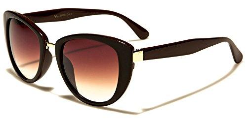 NEUF VG Designer chat doeil mode femme lunettes de soleil - COMPLET UV400 Protection GRATUIT beachhutsunglasses microfibre poche inclus noir/marron/Verres bruns