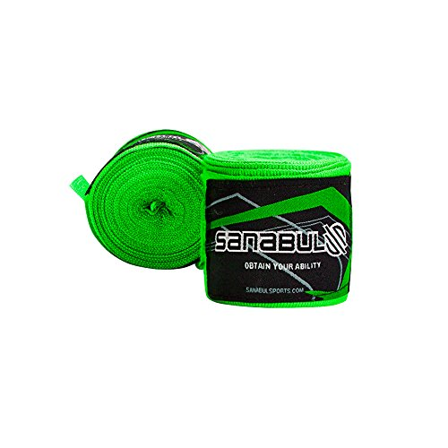 "Sanabul Elastic Professional 180 inch Handwraps for Boxing Kickboxing Muay Thai MMA (Green, 180"")"