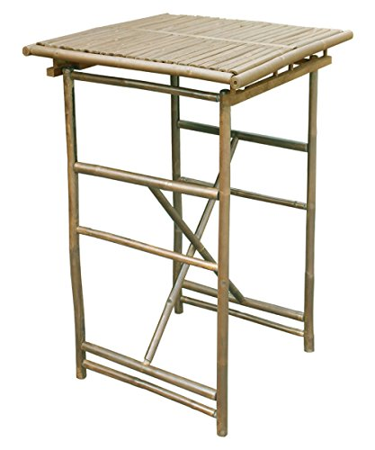 Outdoor Square Folding Bar Height Patio Table Made with Weather-Resistant Solid Bamboo in Espresso 30L x 30W x 41H in. by Zew