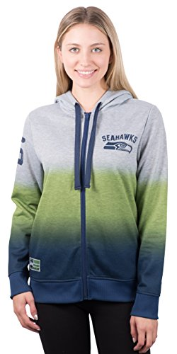 NFL Women's Seattle Seahawks Full Zip Hoodie Sweatshirt Jacket Hombre, Medium, Gray