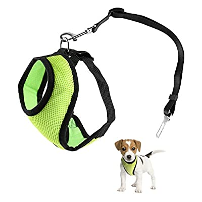 Petacc Soft Pet Harness Mesh Dog Leash Set No-pull Puppy Vest Leash with Adjustable Safety Seat Belt, Easy Control for Small Dogs
