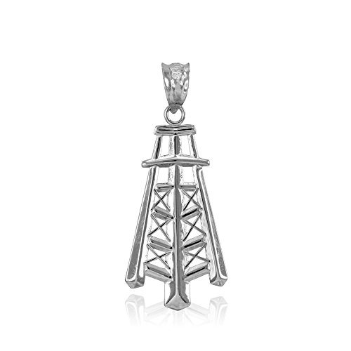 (Polished Oil Well Tower Charm Pendant 925 Sterling Silver)