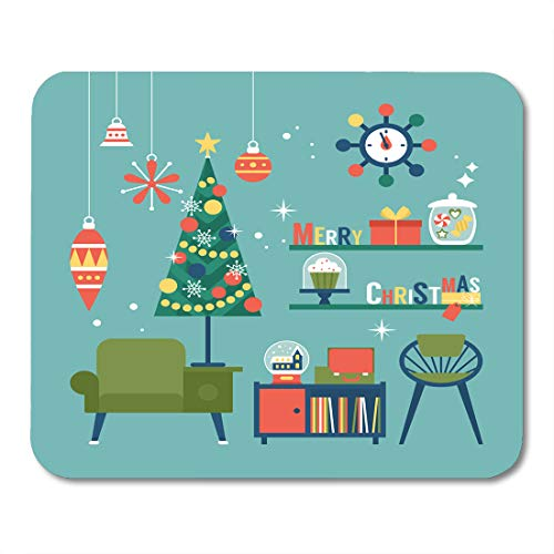 """Emvency Mouse Pads Flat Modern Creative Christmas Mid Century Furniture and Globe Xmas Mousepad 9.5"""" x 7.9"""" for Laptop,Desktop Computers Accessories Mini Office Supplies Mouse Mats"""