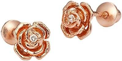 Rose Gold Tone Rose Screwback Girls Earrings