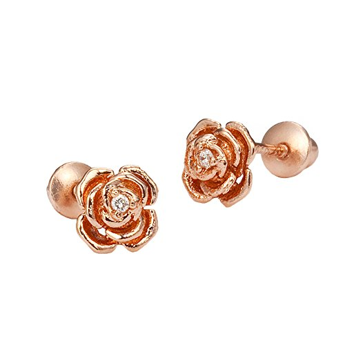 Rose Earrings Screw - Rose Gold Tone Rose Screwback Girls Earrings